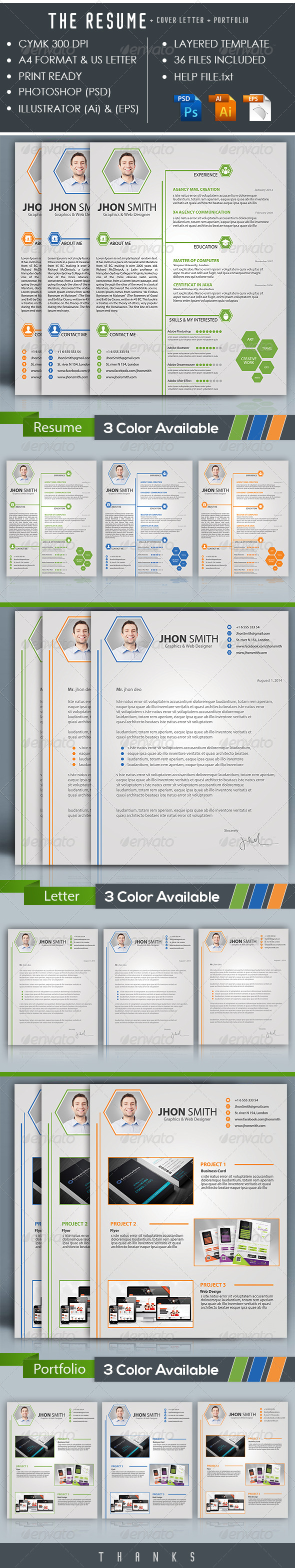 GraphicRiver The Resume & Letter Cover & Portfolio 8615777