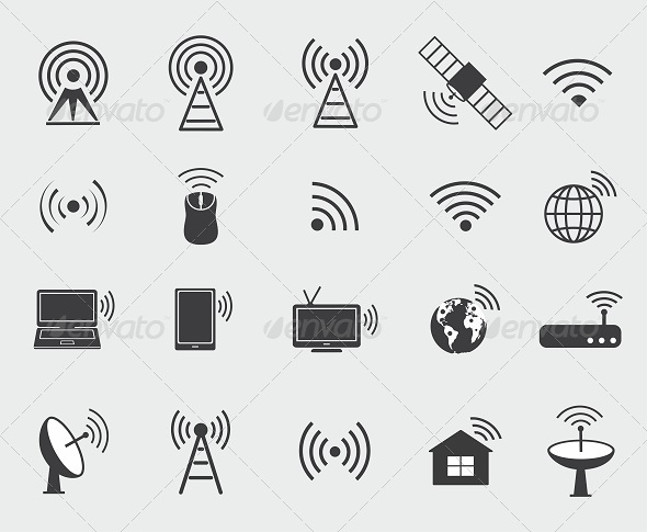 GraphicRiver Black Wireless Icons 8655817