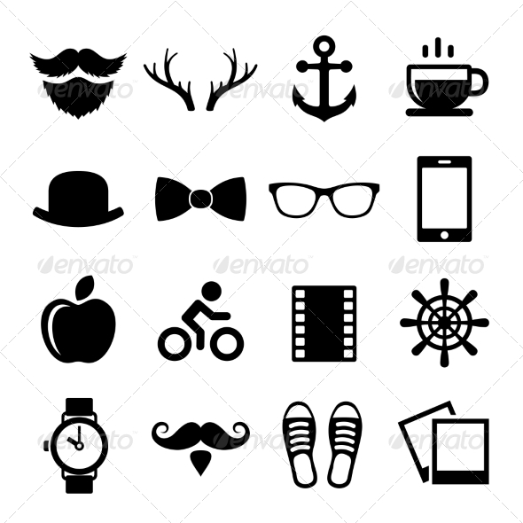 GraphicRiver Set of Vintage Hipster Icons and Logos Vector 8656616