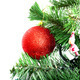 Christmas tree branch with red ball isolated on white - PhotoDune Item for Sale