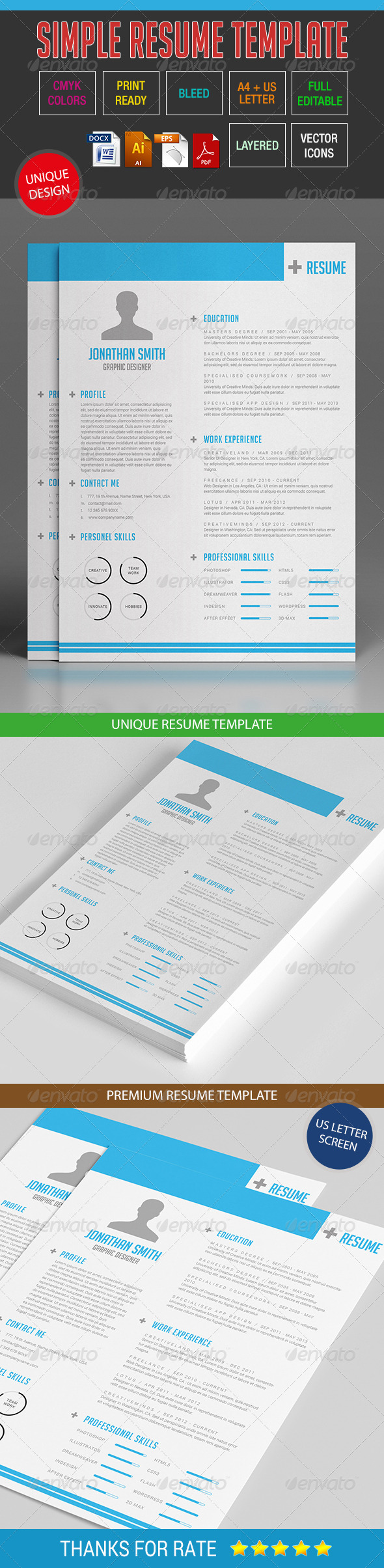 GraphicRiver Simple Resume Template 10 8643550