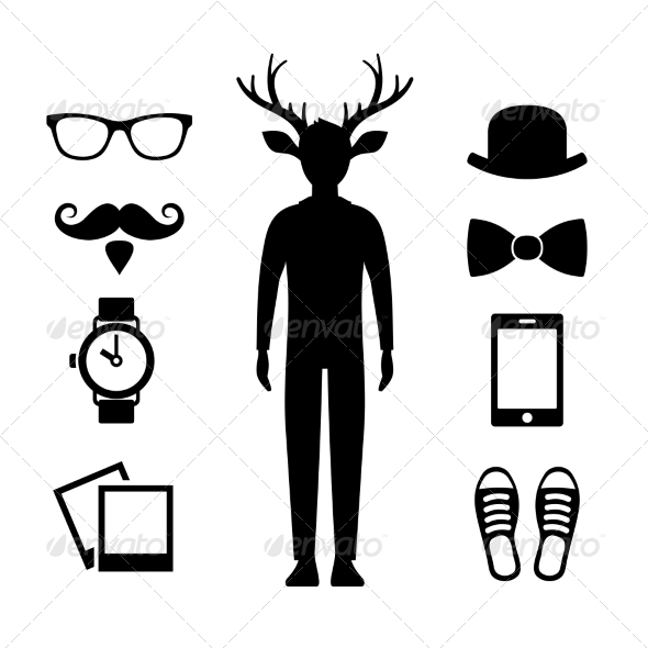 GraphicRiver Hipster Icons Set with Deer Man Silhouette Vector 8657243
