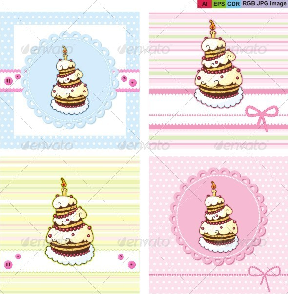 GraphicRiver Cards Set with Holiday Cake 8623147
