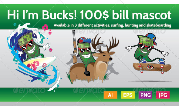 GraphicRiver Bucks the Hundred Bill Mascot Character 8614590
