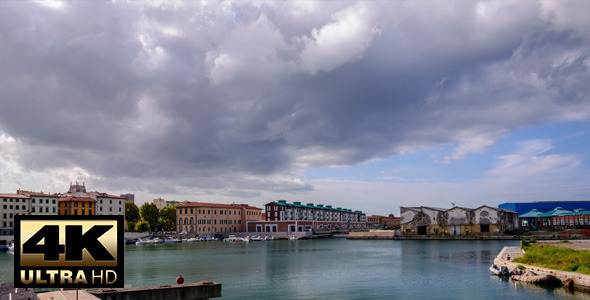 City Port with Cloudy Sky