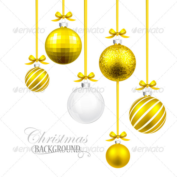 GraphicRiver Christmas Balls with Yellow Ribbon and Bows 8658890
