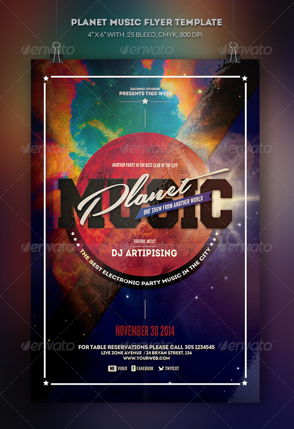 GraphicRiver Planet Music Flyer Template 8659103