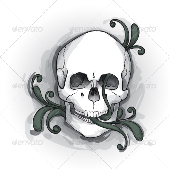 GraphicRiver Skull Ornament Hand Drawn 8659190