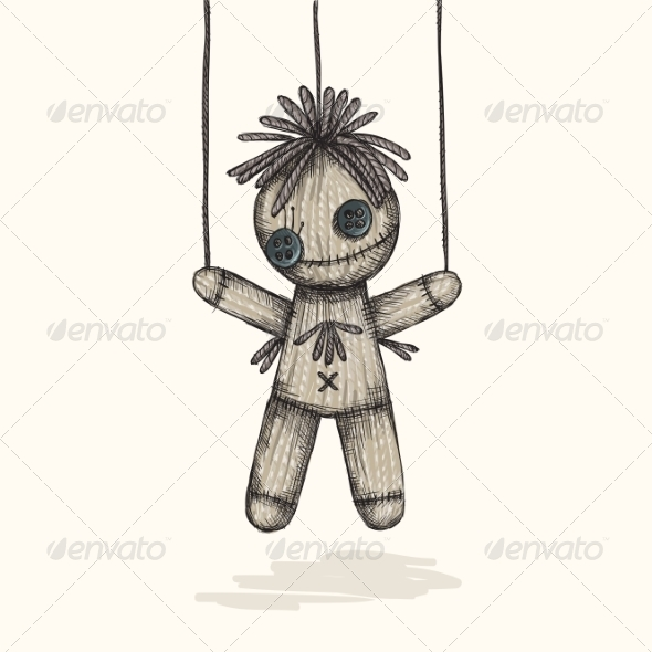 GraphicRiver Spooky Voodoo Doll in a Sketch Style 8659193