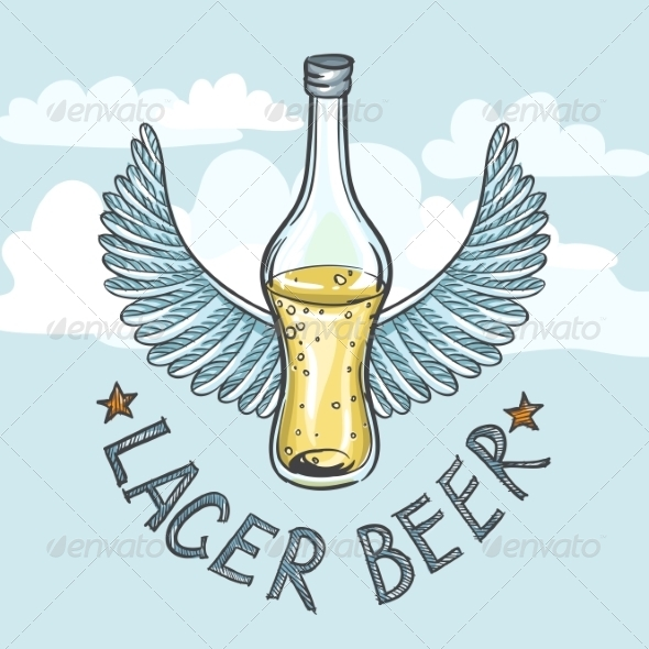 GraphicRiver Lager Beer on Sky Background 8659194