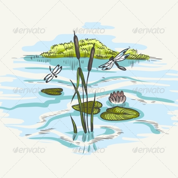 GraphicRiver Natural Background of Green Reeds 8659197