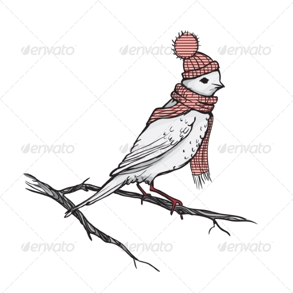 GraphicRiver Retro Illustration of a Bird on a Branch 8659199