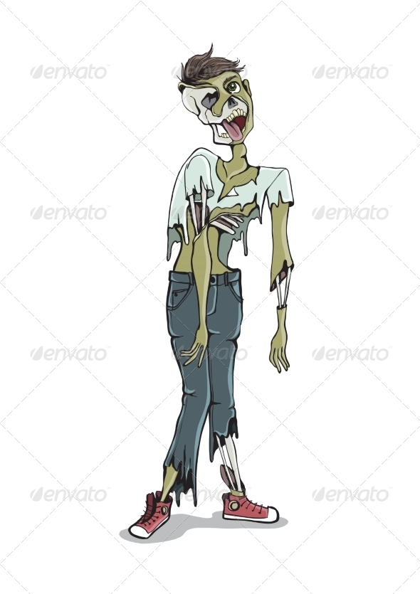 GraphicRiver Cartoon Zombie Isolated On White 8659204