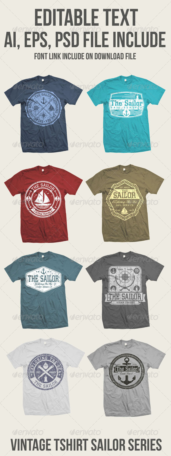 GraphicRiver 8 Vintage Sailor Tshirt 8659224