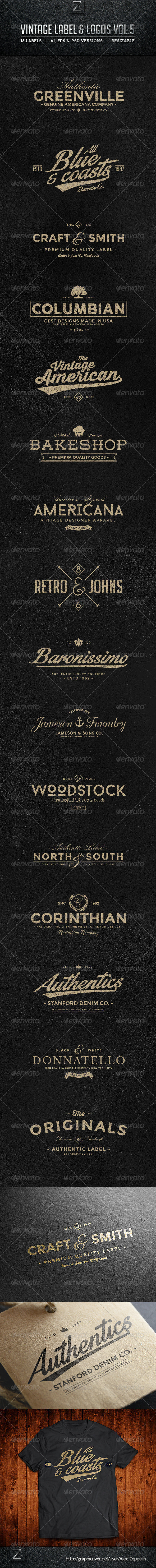 GraphicRiver Vintage Labels & Logos Vol.5 8659229