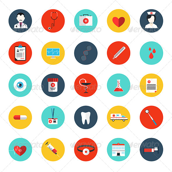 GraphicRiver Set of Flat MedicaI Icons 8659248