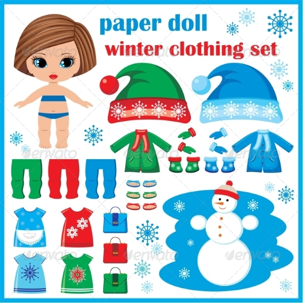 GraphicRiver Paper Doll with Winter Clothes Set 8659342