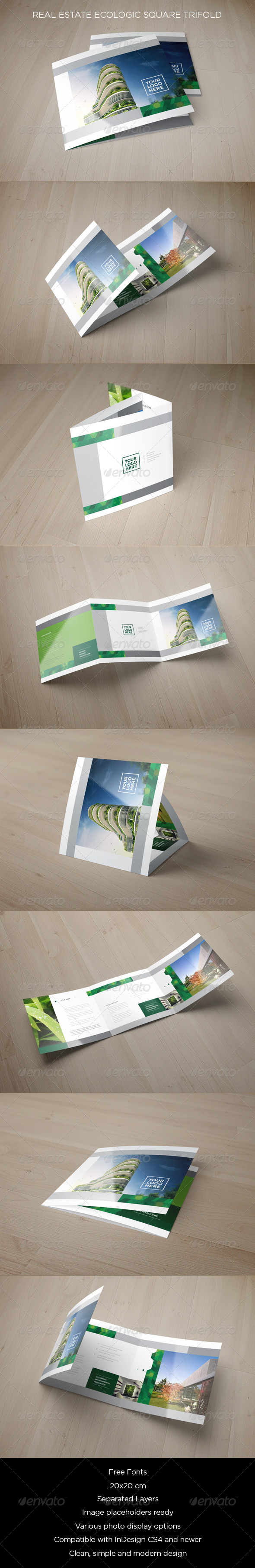 GraphicRiver Real Estate Ecologic Square Trifold 8659439