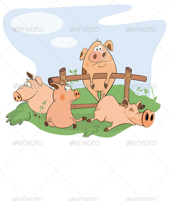 GraphicRiver Pig Gang Cartoon 8659444
