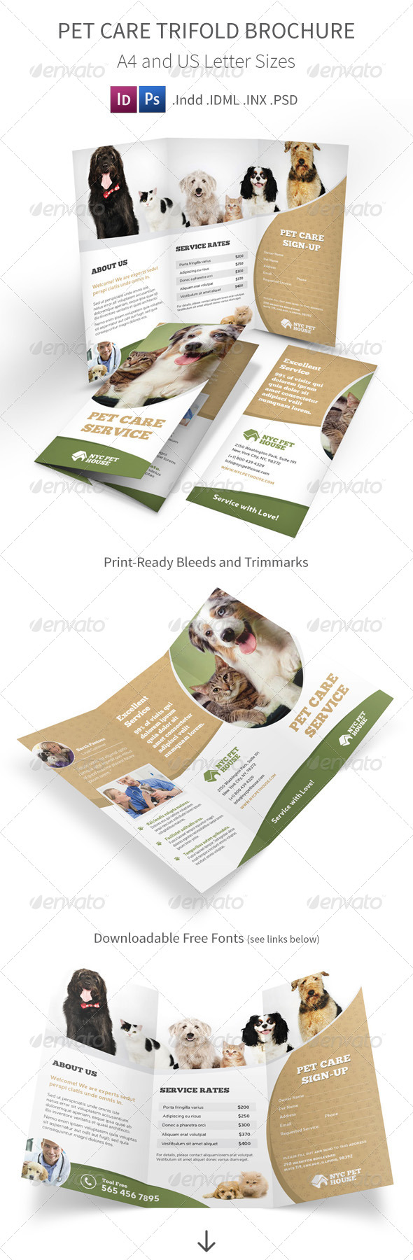 GraphicRiver Pet and Animal Care Trifold Brochure 8659900