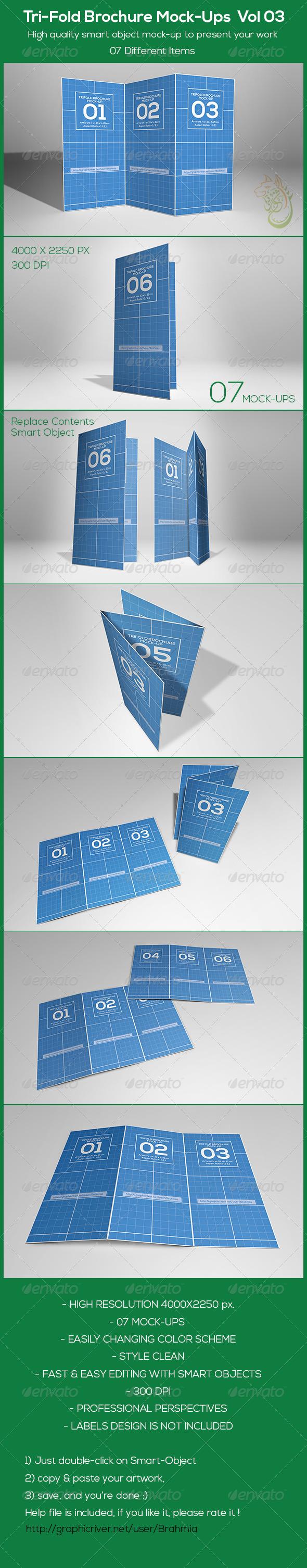 GraphicRiver Tri-Fold Brochure Mock-Ups Vol 03 8660167