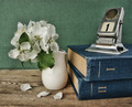 Old calendar and bird cherry branch in a jug on the wooden table - PhotoDune Item for Sale