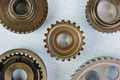 Two gears on graph paper - PhotoDune Item for Sale