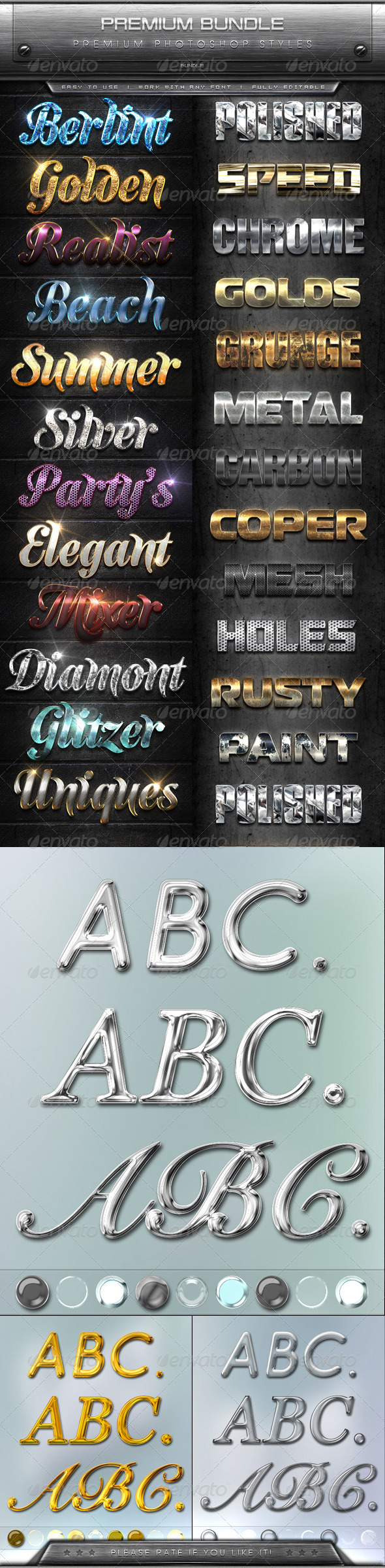 GraphicRiver Premium Text Effects Styles Bundle 8660933