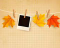 Autumn background with colorful leaves on rope.  - PhotoDune Item for Sale