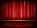A theater stage with a red curtain, seats - PhotoDune Item for Sale
