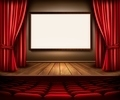 A theater stage with a red curtain, seats and a project board - PhotoDune Item for Sale