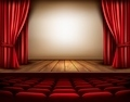 A theater stage with a red curtain, seats.  - PhotoDune Item for Sale
