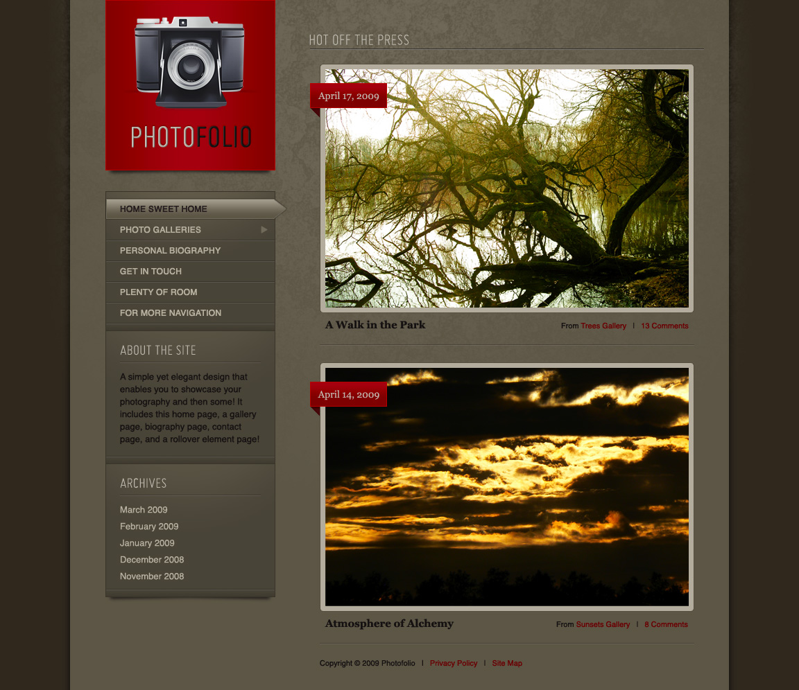 Photofolio - Home - A simple yet elegant design that enables you to showcase your photography and then some! It includes this home page, a gallery page, biography page, contact page, and a rollover element page!