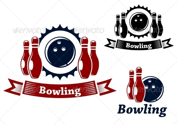GraphicRiver Bowling Emblems with Ball and Ninepins 8661238