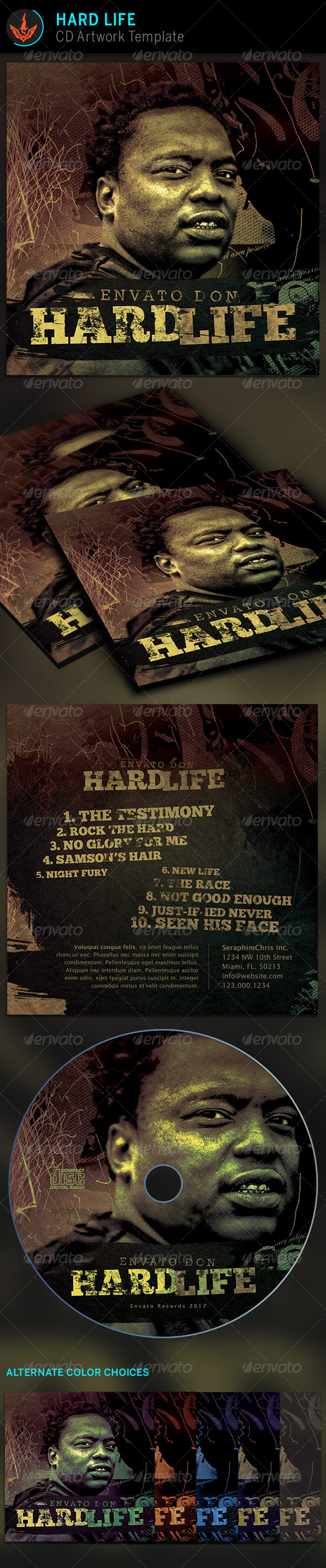 Hard Life CD Artwork template - CD & DVD Artwork Print Templates