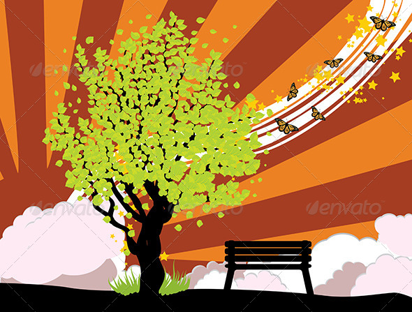 GraphicRiver Summer Illustration with Green Tree 8661321