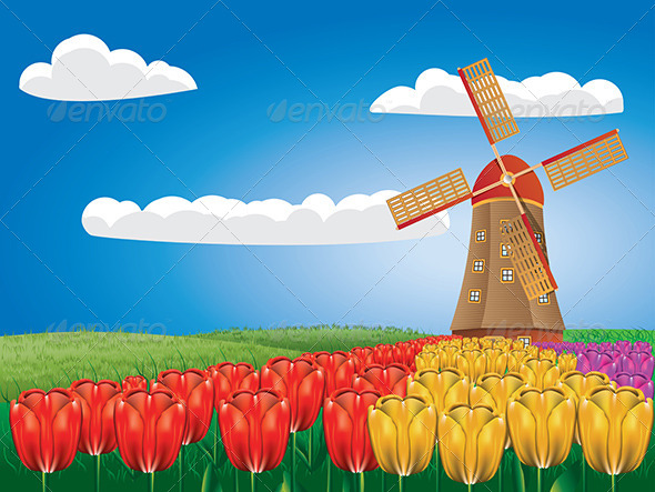 GraphicRiver Windmill and Tulips 8661330