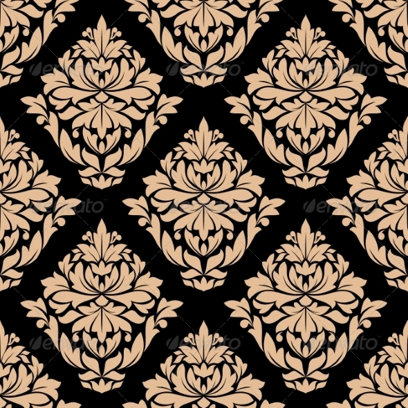 GraphicRiver Beige Colored Floral Seamless Pattern 8661472