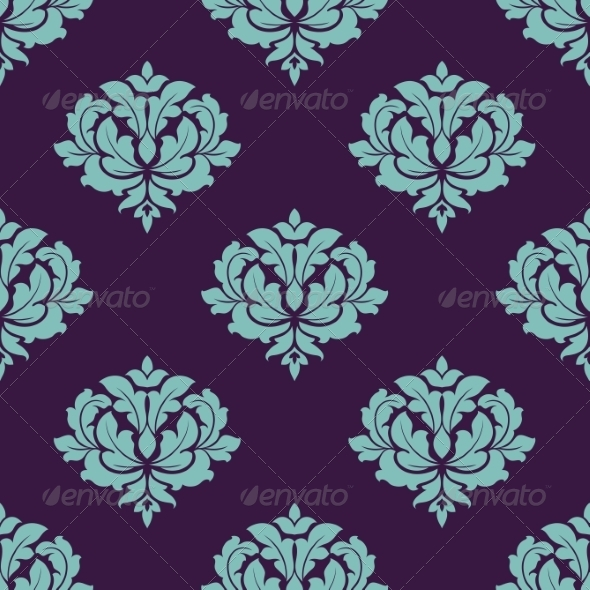 GraphicRiver Turquoise Colored Floral Seamless Pattern 8661521