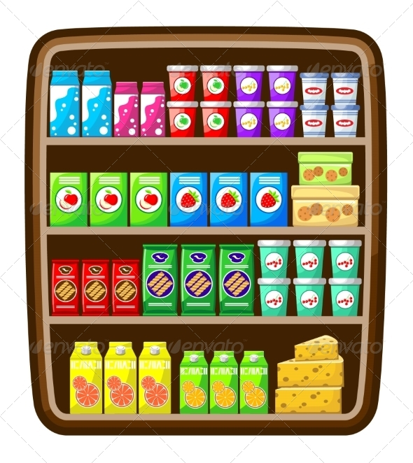 GraphicRiver Supermarket Shelfs with Food 8662108