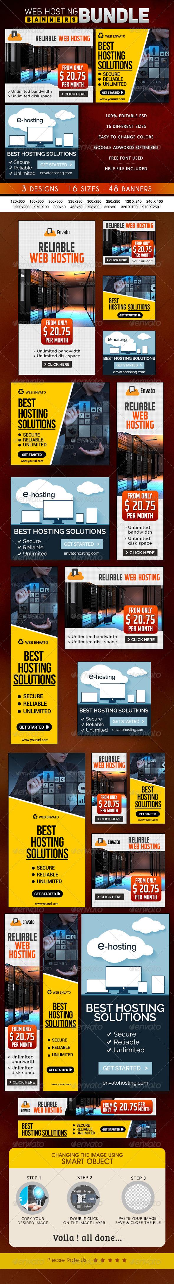 GraphicRiver Web Hosting Banner Bundle 3 Sets 8662164