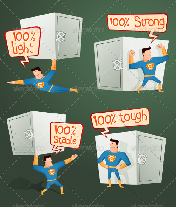 GraphicRiver Superhero Guarding a Deposit Box 8663732
