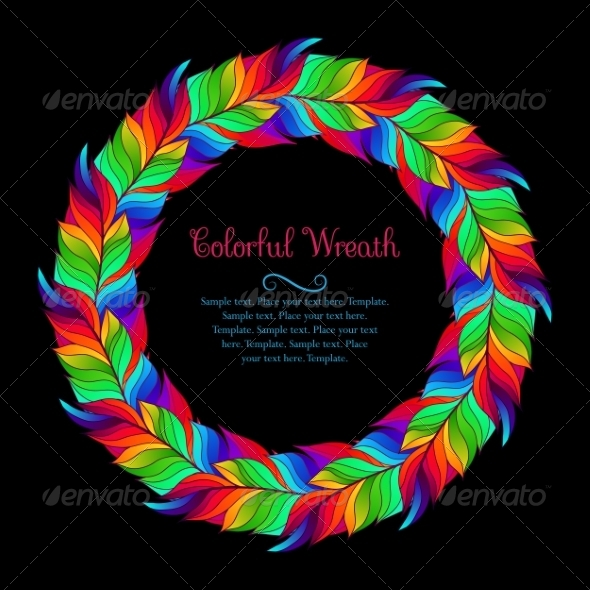 GraphicRiver Colorful Wreath of Rainbow Feathers 8663782