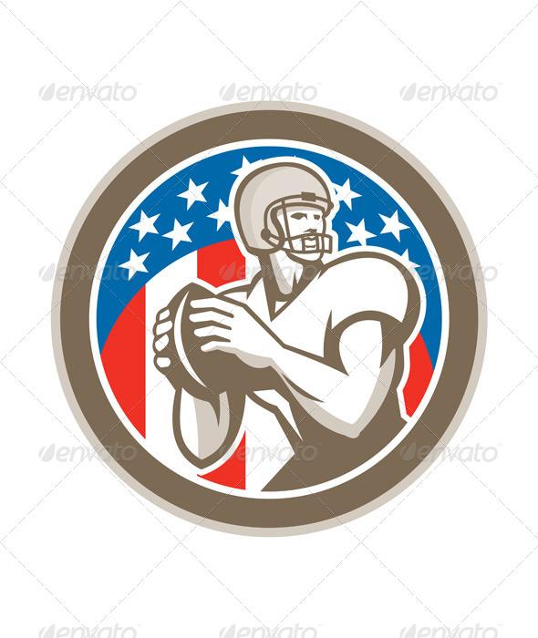 GraphicRiver American Football Quarterback QB Circle Retro 8663784