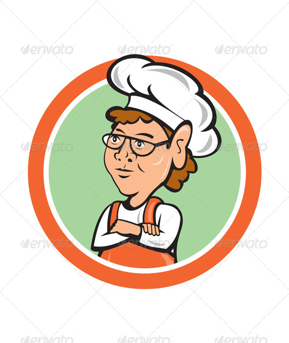 GraphicRiver Chef Cook Female Arms Folded Circle Cartoon 8663899