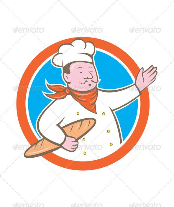 GraphicRiver Chef Holding Baguette Circle Cartoon 8663944