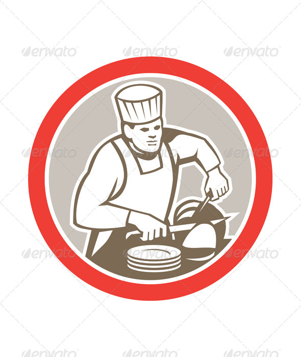 GraphicRiver Chef Cook Slicing Meat Circle Retro 8663957