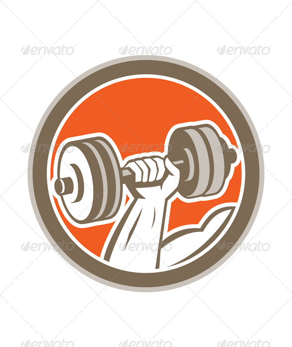GraphicRiver Hand Lifting Dumbbell Retro Circle 8663970