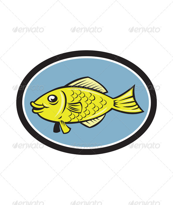 GraphicRiver Gourami Fish Side View Oval Cartoon 8663995