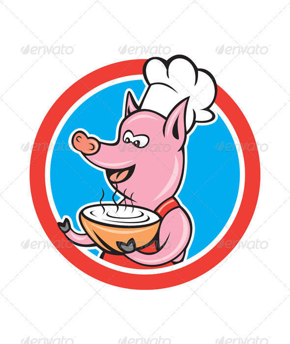 GraphicRiver Pig Chef Holding Bowl Circle Cartoon 8664014